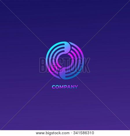 Signal Wave Rotation Logo, Letter O Alphabetic Logo Concept, Colorful Logo Design Template, Circle,