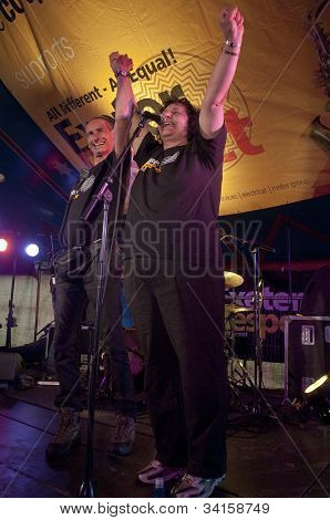: Exeter Respect organisers Paul Giblin and Dr. Suaad George giving thanks to the crowd in the World