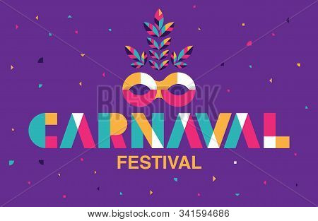 Carnaval Typography, Popular Event In Brazil. Festival, Colorful Party Elements ,carnival, Travel De