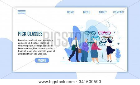 Pick Glasses Service For Pensioner And Adults Flat Landing Page. Cartoon People Characters Choosing