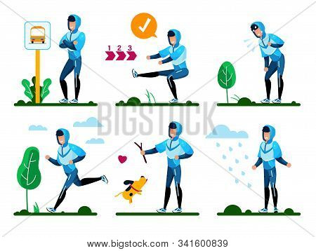 Young Man Daily Routines, Life Situations, Healthy Lifestyle Activities Trendy Flat Vector Concepts