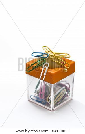 Colorful Container For Paper Clips