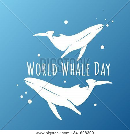 Vector Whale For World Whales Day. Ocean Creature Image. World Whales Day Sign. Mammal Symbol. Anima