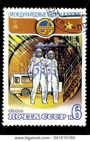 08 12 2019 Divnoe Stavropol Territory Russia Postage Stamp Ussr 1980 Intercosmos International Space
