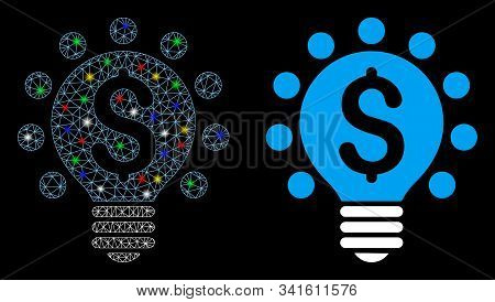 Flare Mesh Business Patent Bulb Icon With Glow Effect. Abstract Illuminated Model Of Business Patent