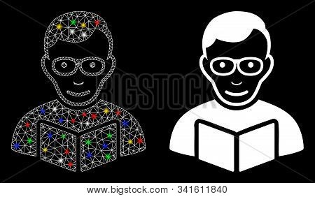 Glowing Mesh Reader Icon With Lightspot Effect. Abstract Illuminated Model Of Reader. Shiny Wire Car
