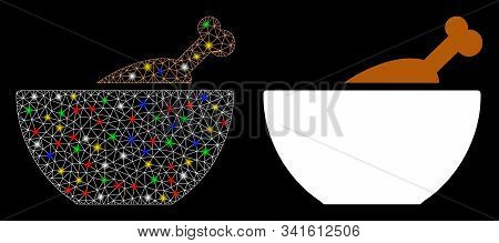 Glowing Mesh Chicken Soup Icon With Glare Effect. Abstract Illuminated Model Of Chicken Soup. Shiny