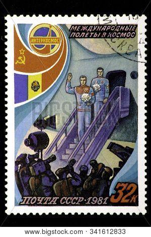 08 12 2019 Divnoe Stavropol Territory Russia Ussr Postage Stamp 1981 Intercosmos International Space