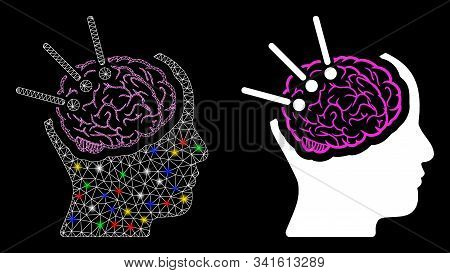Bright Mesh Brain Autopsy Icon With Lightspot Effect. Abstract Illuminated Model Of Brain Autopsy. S