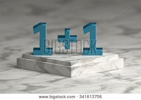 Large Bold Blue Shiny Numbers 1+1 One Plus One Standing On Marble Pedestal. 3d Illustration