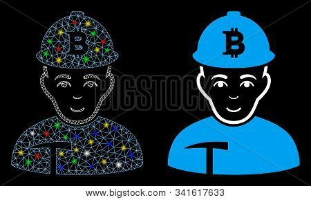 Glowing Mesh Bitcoin Miner Icon With Glare Effect. Abstract Illuminated Model Of Bitcoin Miner. Shin