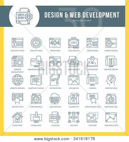 Set Of Outline Icons On Following Themes - Seo, Web Development, Web Optimization, Graphic Design, W
