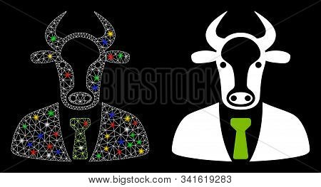Glowing Mesh Bull Boss Icon With Glitter Effect. Abstract Illuminated Model Of Bull Boss. Shiny Wire