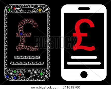 Bright Mesh British Pound Mobile Payment Icon With Glow Effect. Abstract Illuminated Model Of Britis