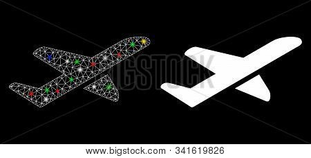 Glowing Mesh Aviation Icon With Sparkle Effect. Abstract Illuminated Model Of Aviation. Shiny Wire C