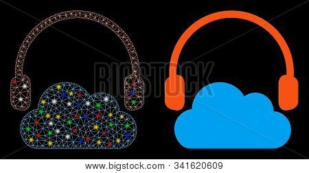 Glossy Mesh Listen Cloud Icon With Glow Effect. Abstract Illuminated Model Of Listen Cloud. Shiny Wi