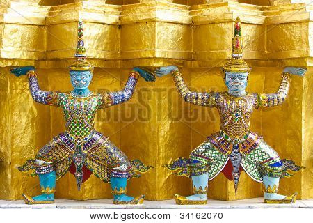 Two Giant Statue in the Emerald Buddha Temple,Bangkok, Thailand