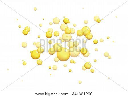 Gold Oil Bubbles. Vector Blink Collagen Capsules.  Vector 3d Realistic Bead Of Epoxy Artificial Ambe