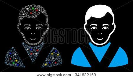 Bright Mesh Awarded Man Icon With Lightspot Effect. Abstract Illuminated Model Of Awarded Man. Shiny