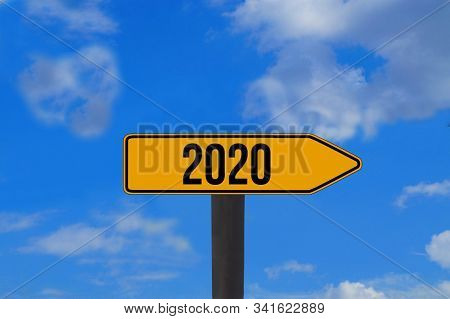 Happy New Year 2020, 2020 Text For Calendar, Colorful Text On Background, 2020 Beginning Concept, Nu