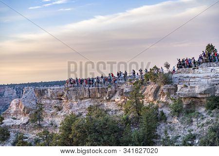 Grand Canyon, Usa - July 11, 2008: People Enjoy The View From Yaki Point To The Grand Canyon Valley
