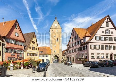 Dinkelsbuehl, Germany - July 29, 2009:  Romantic Dinkelsbuhl, City Of Late Middleages And Timbered H