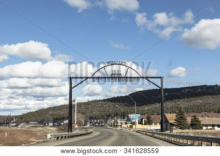 Williams, Arizona - March 7, 2019: Entering The Iron Town Gate To The City Of Williams, The Gateway