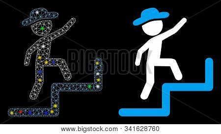 Glossy Mesh Gentleman Steps Upstairs Icon With Glow Effect. Abstract Illuminated Model Of Gentleman
