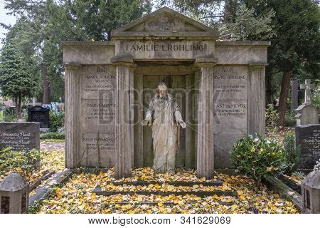 Frankfurt, Germany - October 19, 2019: Old Family Graveyard Of An Old Frankfurt Family At The South