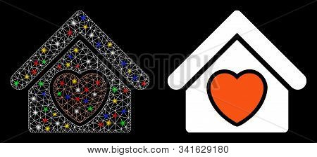 Glossy Mesh Hospice Icon With Glow Effect. Abstract Illuminated Model Of Hospice. Shiny Wire Frame T