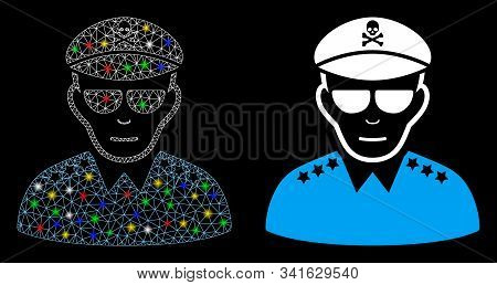 Glowing Mesh Evil Army General Icon With Glitter Effect. Abstract Illuminated Model Of Evil Army Gen