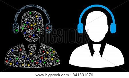 Glowing Mesh Call Center Operator Icon With Glow Effect. Abstract Illuminated Model Of Call Center O