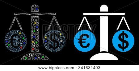 Glossy Mesh Currency Compare Scales Icon With Sparkle Effect. Abstract Illuminated Model Of Currency