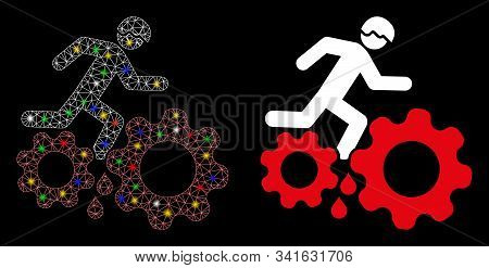 Flare Mesh Blood Gear Job Accident Icon With Glitter Effect. Abstract Illuminated Model Of Blood Gea