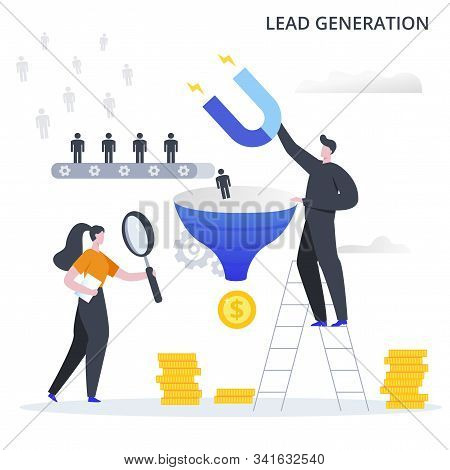 Lead Generation Business Process. The Process Of Attracting Potential Customers To The Sales Funnel