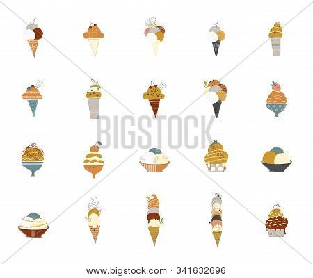 Big Vector Set Of Isolated Objects. Tasty Ice Cream In Waffle Cones And Cups And Sundaes.