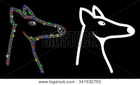 Flare Mesh Fox Head Icon With Lightspot Effect. Abstract Illuminated Model Of Fox Head. Shiny Wire F
