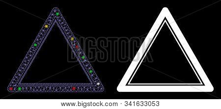 Glowing Mesh Double Triangle Frame Icon With Glare Effect. Abstract Illuminated Model Of Double Tria
