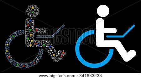 Flare Mesh Wheelchair Icon With Sparkle Effect. Abstract Illuminated Model Of Wheelchair. Shiny Wire