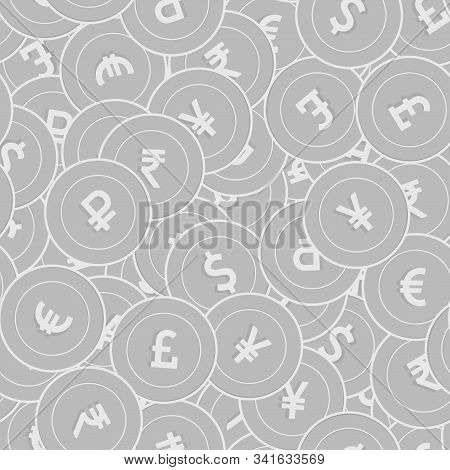 International Currencies Silver Coins Seamless Pattern. Posh Scattered Black And White Global Coins.