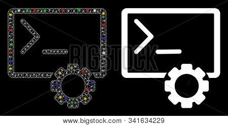 Bright Mesh Console Administration Icon With Glow Effect. Abstract Illuminated Model Of Console Admi