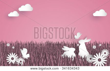 Vector Illustration Of Rabbits On Grass And Flower With Butterfly In The Garden. Paper Art Style. Di