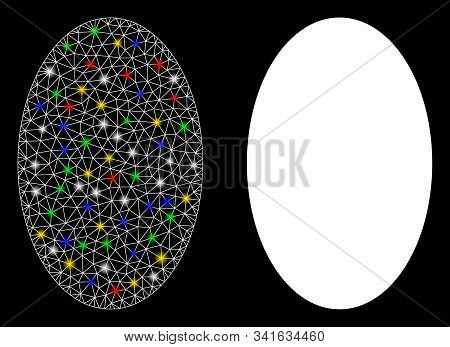Glowing Mesh Filled Ellipse Icon With Sparkle Effect. Abstract Illuminated Model Of Filled Ellipse.