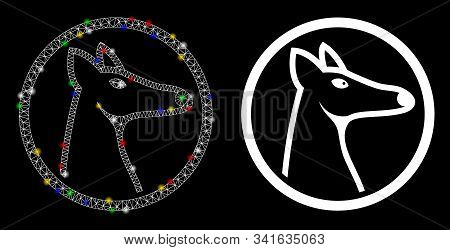 Glowing Mesh Rounded Fox Head Icon With Glare Effect. Abstract Illuminated Model Of Rounded Fox Head