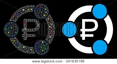 Glowing Mesh Rouble Collaboration Icon With Sparkle Effect. Abstract Illuminated Model Of Rouble Col