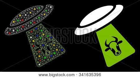 Glowing Mesh Cattle Ufo Abduction Icon With Glare Effect. Abstract Illuminated Model Of Cattle Ufo A