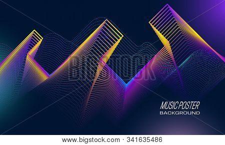 Music Poster Background Design. Rock Pulsation Backdrop Template.