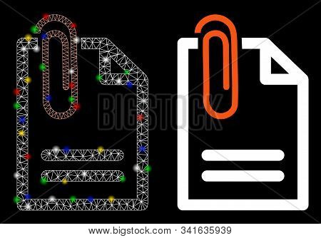Glossy Mesh Attach Document Icon With Glow Effect. Abstract Illuminated Model Of Attach Document. Sh