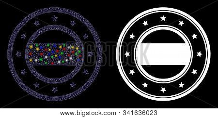 Glowing Mesh Double Round Starred Frame Icon With Lightspot Effect. Abstract Illuminated Model Of Do