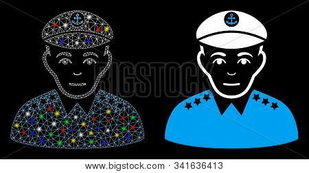 Flare Mesh Military Captain Icon With Glow Effect. Abstract Illuminated Model Of Military Captain. S